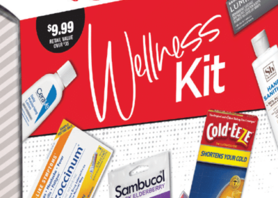 Wellness Kit Sample Box designed with Custom Sleeve and Coupon Booklet